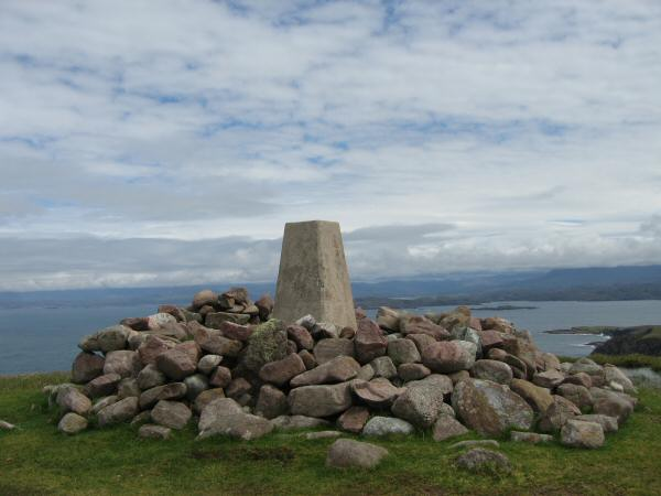 The trig point on the summit of Sidhean Mor