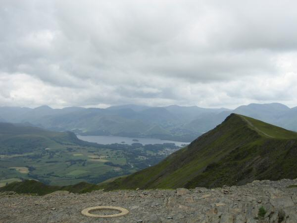 Gategill Fell Top with Derwent Water and the north western fells beyond from Hallsfell Top (Blencathra's summit)