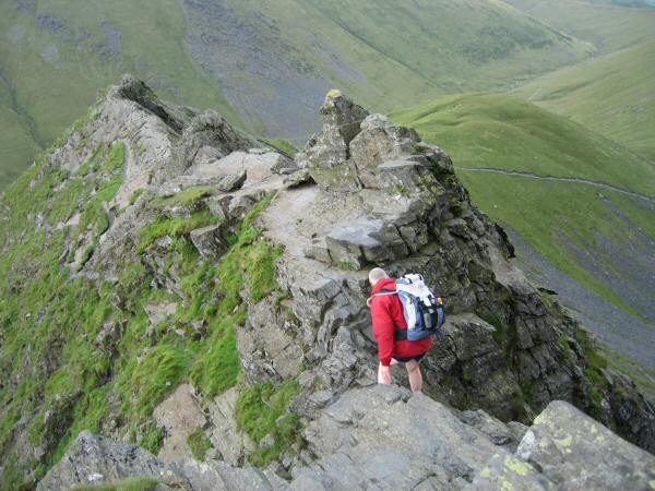 Crossing the notch to get to the 'awkward slab' and 'Pillar-box'