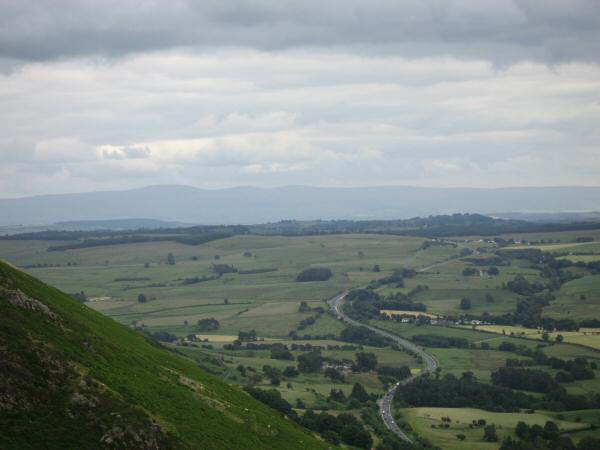 The A66 with the North Pennines in the distance from Doddick Fell