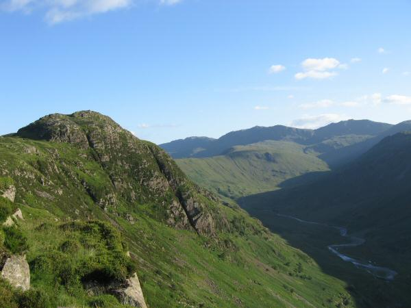 Sergeant's Crag with Bowfell and Esk Pike in the distance from Eagle Crag