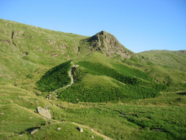 Lining Crag and the Coast-to-Coast path descending into Greenup Gill