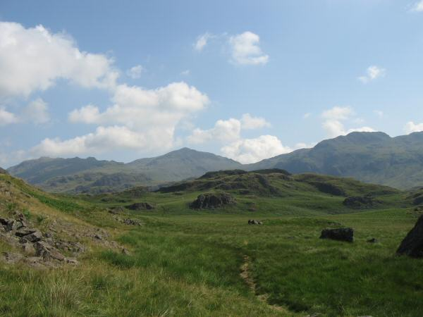 Esk Pike, the pointed top of Bowfell and Crinkle Crags