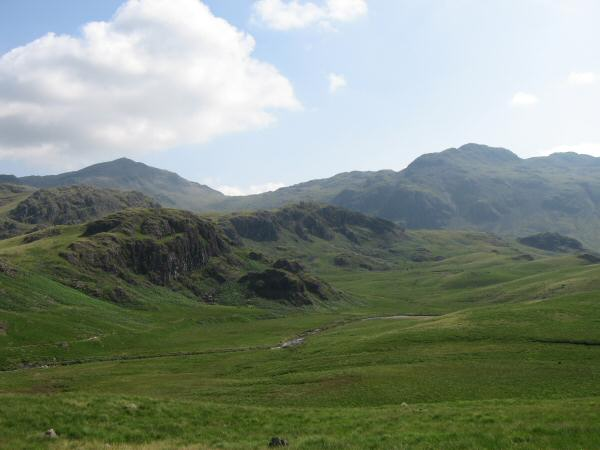 Looking over the River Esk and Scar Lathing to Bowfell and Crinkle Crags