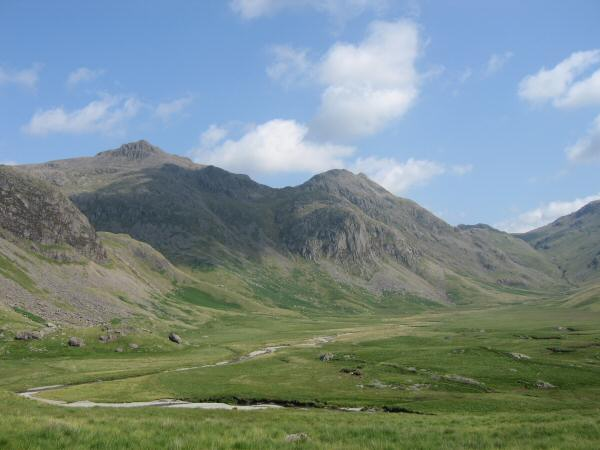 Looking over Great Moss to Scafell Pike and Ill Crag