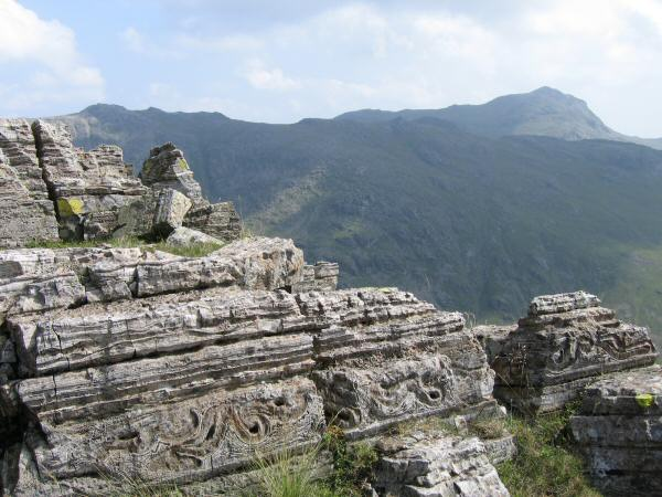 Bedding structures in the volcaniclastic rocks of the Seathwaite Fell Formation, Pen's summit