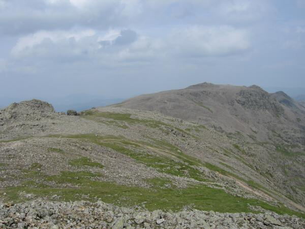 Scafell Pike from Scafell with Symonds Knott on the far left of the photo