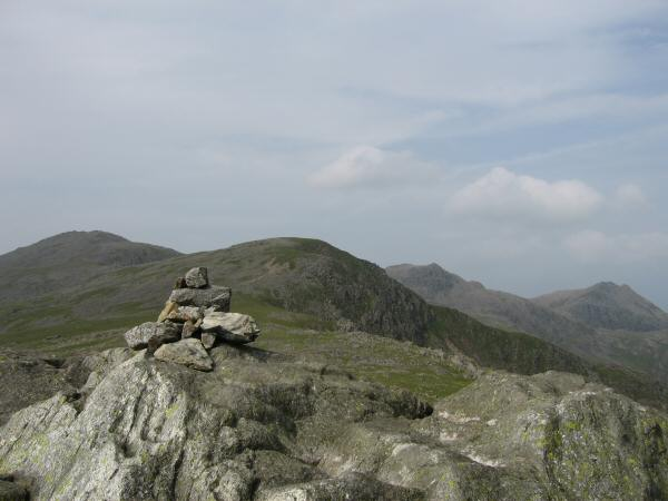 Scafell, Long Green, Scafell Pike and Ill Crag from Slight Side's summit