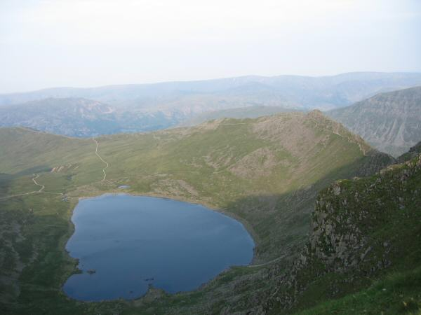 Red Tarn with Striding Edge on the right and the High Street fells in the far distance
