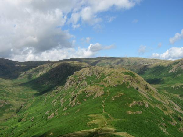 Looking along the ridge to Gibson Knott from Helm Crag, the far skyline is Ullscarf