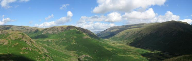Steel Fell from Helm Crag with Gibson Knott on the left and Dunmail Raise, the Helvellyn fells and Seat Sandal on the right