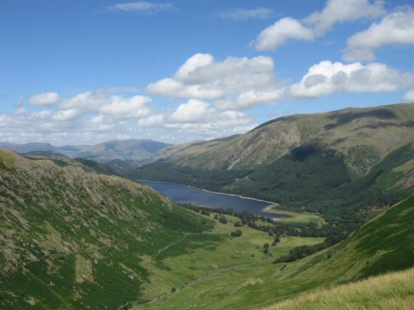 The head of Thirlmere with Blencathra in the far distance from Steel Fell