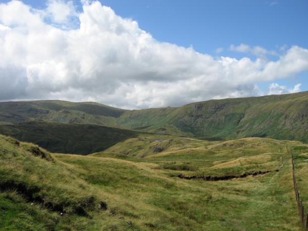 Looking back along our route between Calf Crag and Steel Fell
