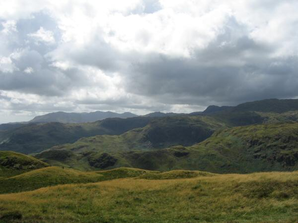 Clouds building over the Coniston and Langdale Fells