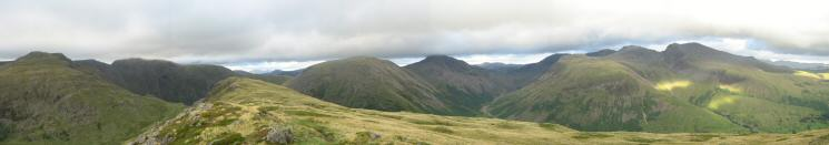 North easterly 180 panorama from Yewbarrow's summit