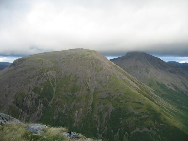 Kirk Fell and Great Gable with its top in cloud