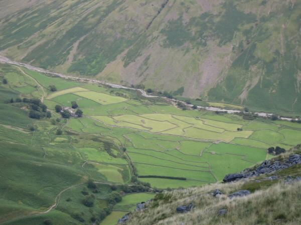 Looking down on the fields of Wasdale Head