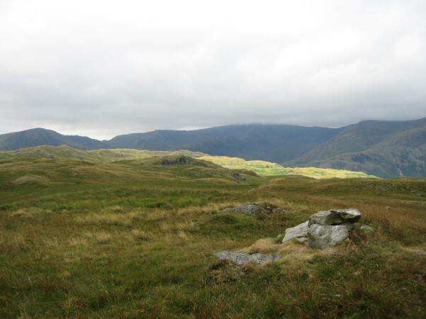 Looking towards High Street (centre with top in cloud) from Hare Shaw's summit
