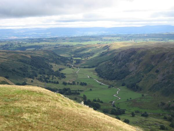 Looking down into Swindale from our ascent of Selside Pike with the North Pennines in the distance