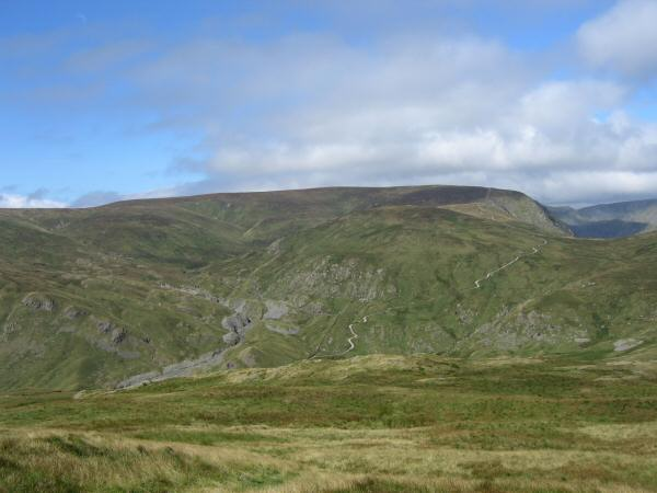Harter Fell, Wrengill Quarry and the Gatescarth Pass track from our ascent of Tarn crag