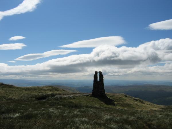The pillar near Tarn Crag's summit cairn