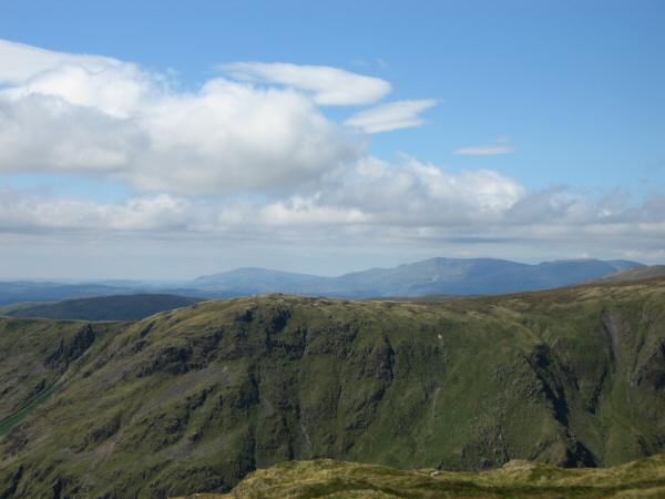 Looking over Goat Scar to Black Combe and the Coniston Fells from Tarn Crag's summit