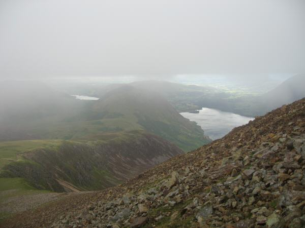Lingcomb Edge and Mellbreak with Loweswater on the left and Crummock Water on the right from the scree slope below Red Pike's summit