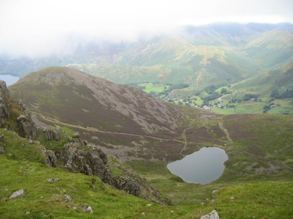 Dodd and Bleaberry Tarn with Buttermere village in the valley