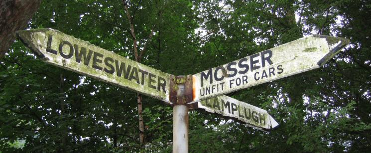 Sign post at the start of the Mosser road