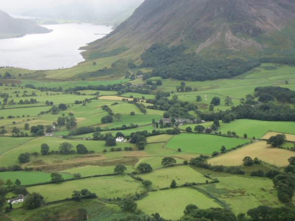 Looking down on Loweswater's church (centre of photo)