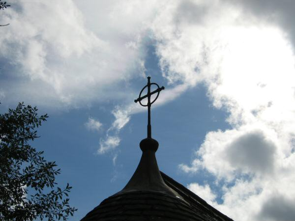 One of the two crosses on Wythburn Church roof