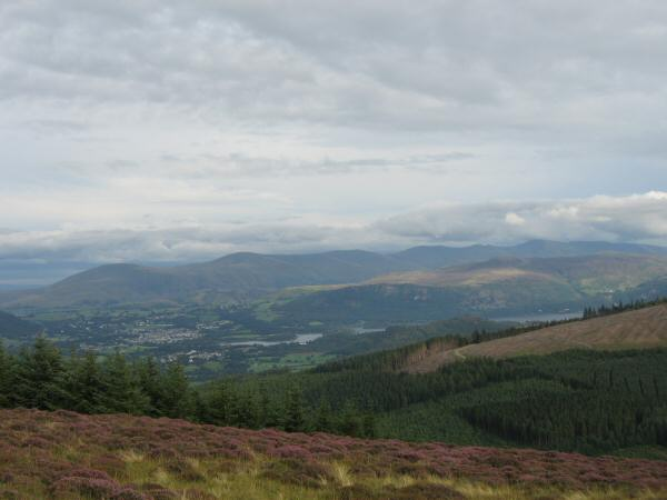 Looking over Keswick and Derwent Water to the Helvellyn range