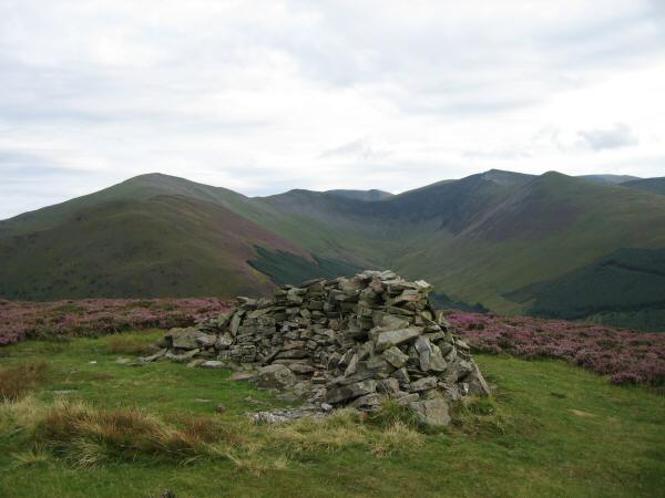 Hobcarton valley from Whinlatter's Brown How top with Grisedale Pike on the left and Hopegill Head on the right