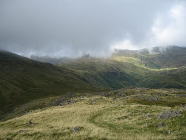 The view towards the Pots of Ashness and Haycock from Middle Fell