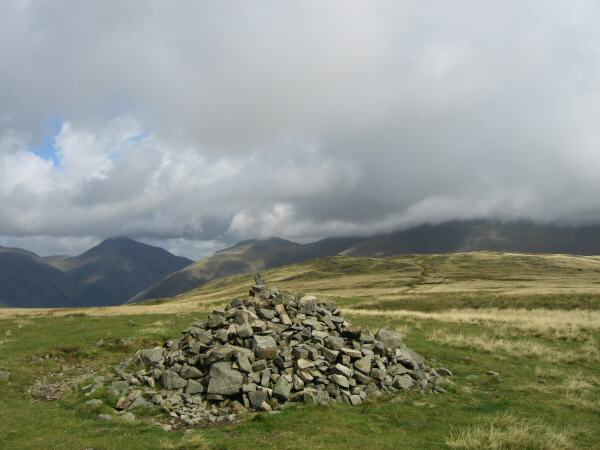 Great Gable, Lingmell and the Scafells (in cloud) from Illgill Head's summit cairn at the 604m spot height and not the 609m one