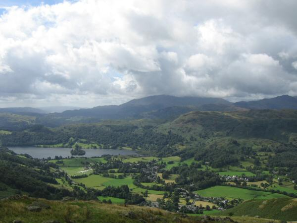 Grasmere village and lake from the ascent