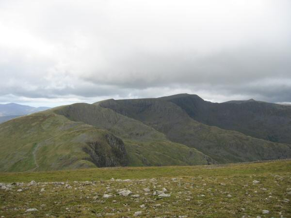 Dollywaggon Pike, Nethermost Pike and Helvellyn from Fairfield's summit