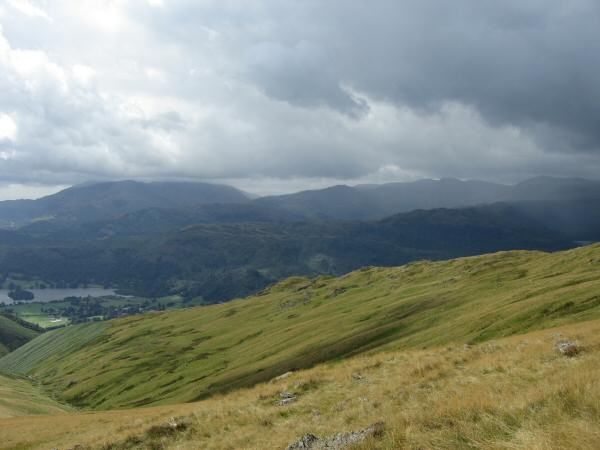 The Stone Arthur ridge with the Coniston and Langdale fells behind