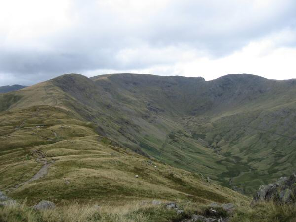 Rydal Head: Great Rigg, Fairfield and Hart Crag from Erne Crag top