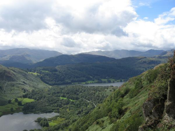 Rydal Water and Grasmere from the descent off Nab Scar
