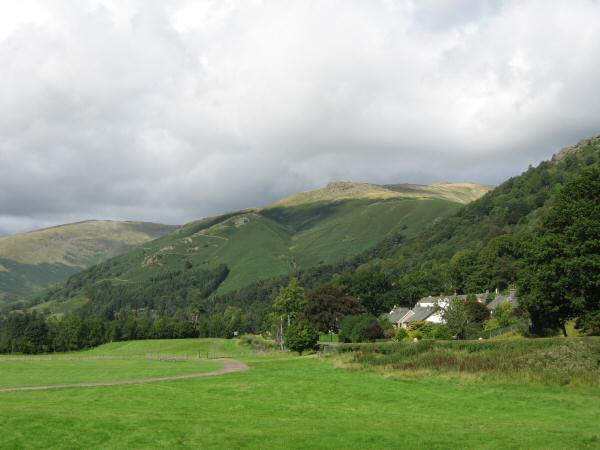 Looking across Grasmere showground to Stone Arthur