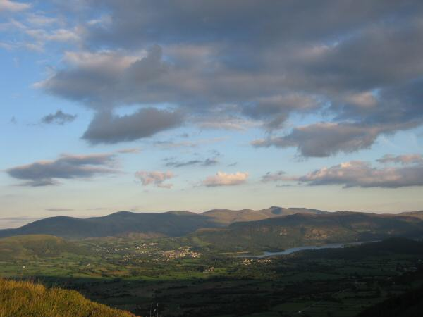Keswick, Derwent Water and the Helvellyn ridge from Barf