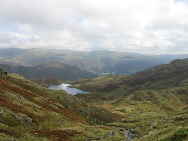 Looking back over Easedale Tarn to the Fairfield fells from near Belles Knott