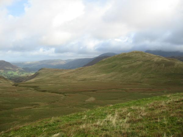 Looking across Whiteoak Moss to Hen Comb from Floutern Cop's summit