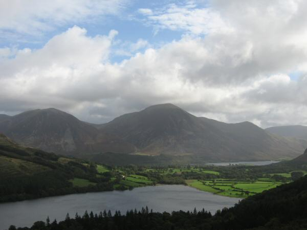 Looking over Loweswater to Whiteside and Grasmoor with Crummock Water on the right