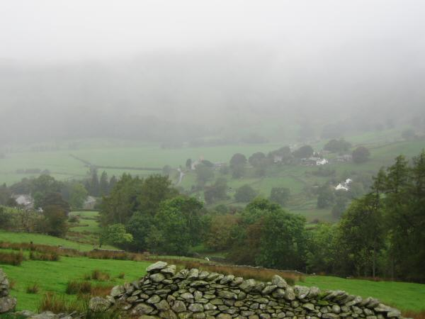 A damp start. Looking back down on Kentmere village from above Green Quarter