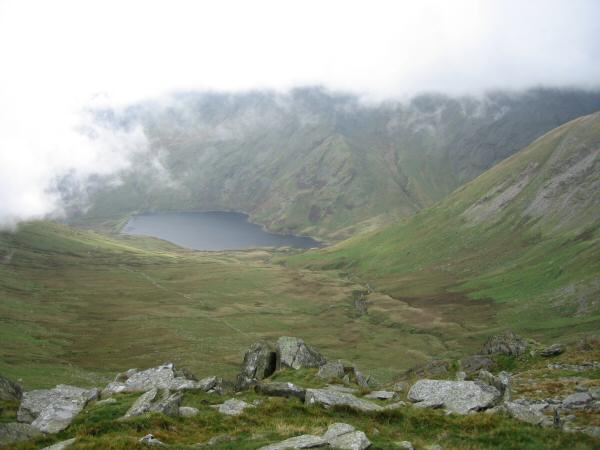 Looking down on Kentmere Reservoir from the descent to Nan Bield Pass
