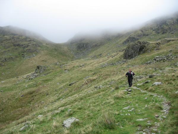 Descending the Kentmere side of the Nan Bield Pass