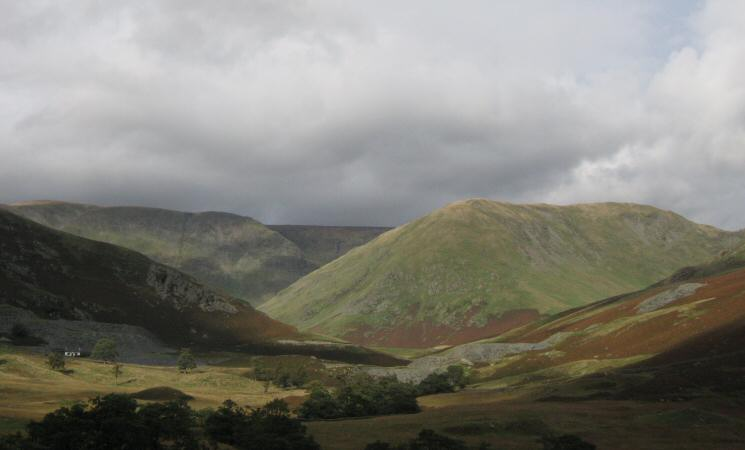 Thornthwaite Crag (far left), High Street (flat skyline middle) and Lingmell End leading to Mardale Ill Bell