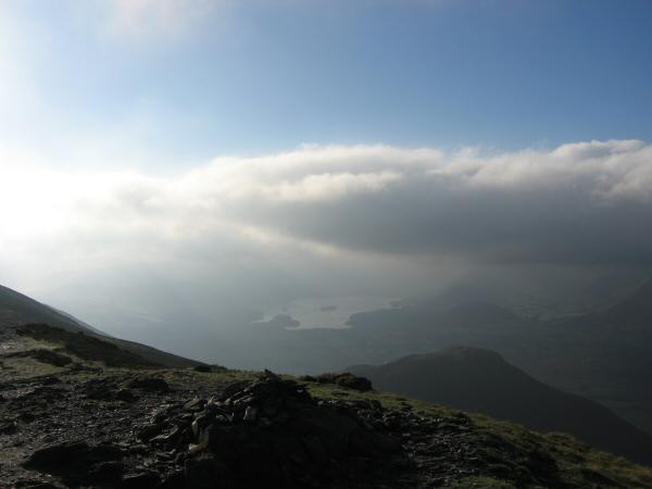 Dodd, below right, and Derwent Water just visible in the distance from Ullock Pike's summit